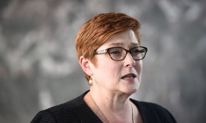 Australian Foreign Minister Marise Payne speaks to the press. (Lillian Suwanrumpha/AFP via Getty Images)