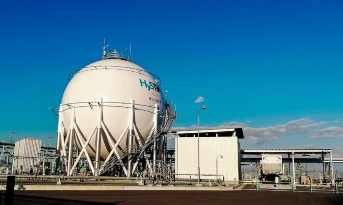 A cubic-meter tank containing liquid hydrogen at Kobe Port Island plant in Kobe, Japan on Oct. 26, 2020. The special shipping terminal has been built in order to import liquid hydrogen from Australia. (Etienne Balmer/AFP via Getty Images)