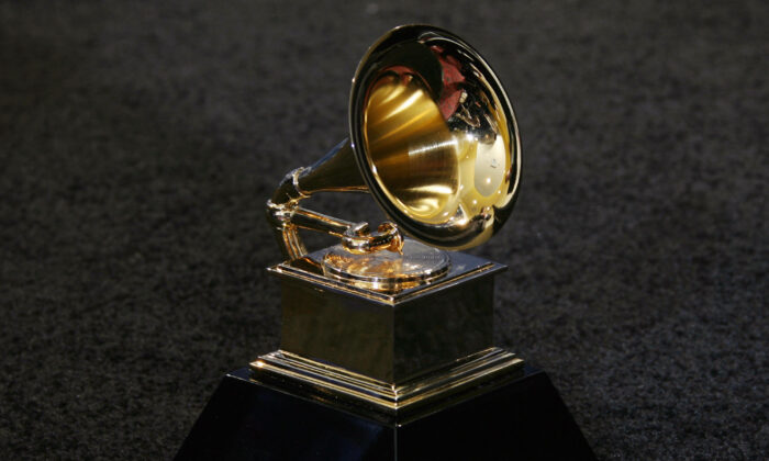 The trophy of the Grammy Awards in Los Angeles on Feb. 11, 2007. (Gabriel Bouys via Getty Images)