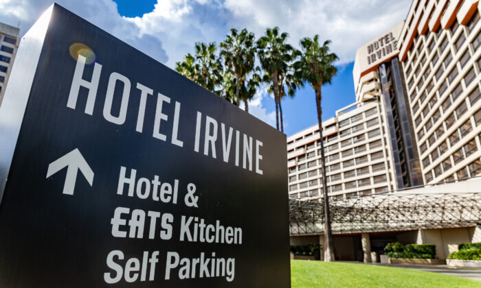 The Hotel Irvine, which remains closed, in Irvine, Calif., on March 12, 2021. (John Fredricks/The Epoch Times)