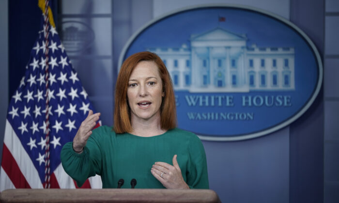 White House press secretary Jen Psaki speaks during the daily press briefing at the White House on March 15, 2021. (Drew Angerer/Getty Images)