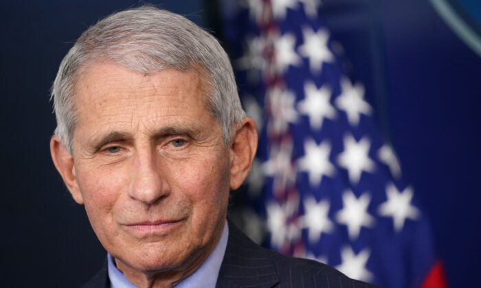 Dr. Anthony Fauci, director of the National Institute of Allergy and Infectious Diseases, is seen during a press conference at the White House in Washington on Jan. 21, 2021. (Mandel Ngan/AFP via Getty Images)