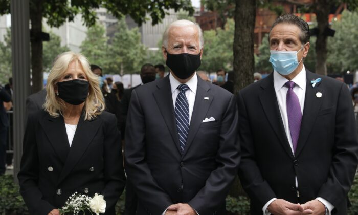 Joe Biden, center, attends a 9/11 memorial service with New York Gov. Andrew Cuomo and Jill Biden in New York City on Sept. 11, 2020. (Amr Alfiky/Pool/Getty Images)