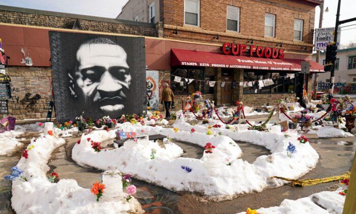 A mural of George Floyd is seen in George Floyd Square in Minneapolis, Minn., on Feb. 8, 2021. (Jim Mone/AP Photo)
