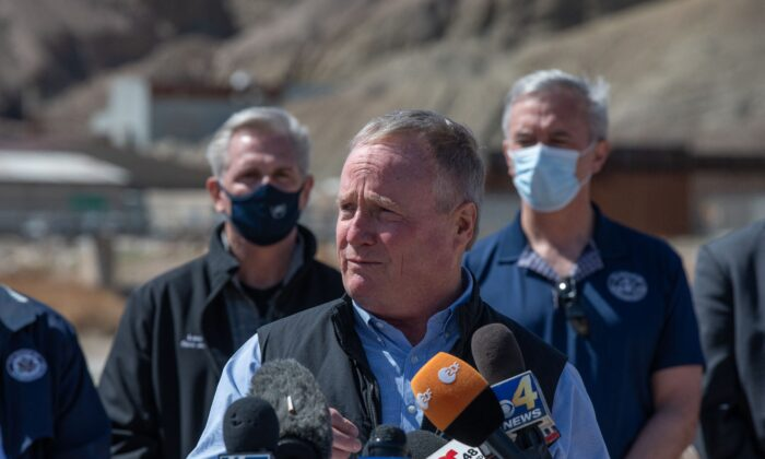 Rep. David Joyce (R-Ohio) speaks to reporters during a congressional border delegation visit to El Paso, Texas, on March 15, 2021. (Justin Hamel/AFP via Getty Images)