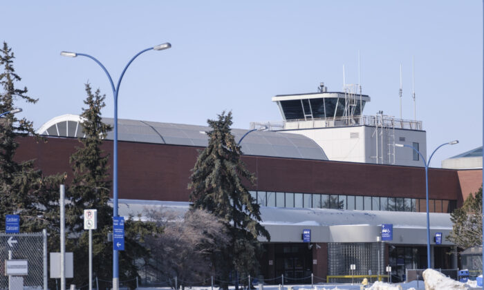 The control tower at the Regina International Airport is shown on Feb. 18, 2021. (Michael Bell/The Canadian Press)