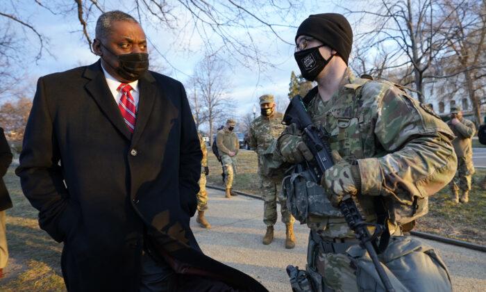 Secretary of Defence Lloyd Austin visits National Guard troops deployed at the U.S. Capitol in Washington on Jan. 29, 2021. (Manuel Balce Ceneta-Pool/Getty Images)