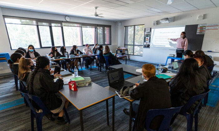 Senior students are seen in class at Melba Secondary College on October 12, 2020, in Melbourne, Australia. (Daniel Pockett/Getty Images)