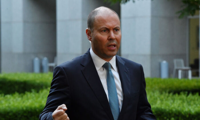 Treasurer Josh Frydenberg during a television live cross at Parliament House on March 16, 2021, in Canberra, Australia. (Sam Mooy/Getty Images)