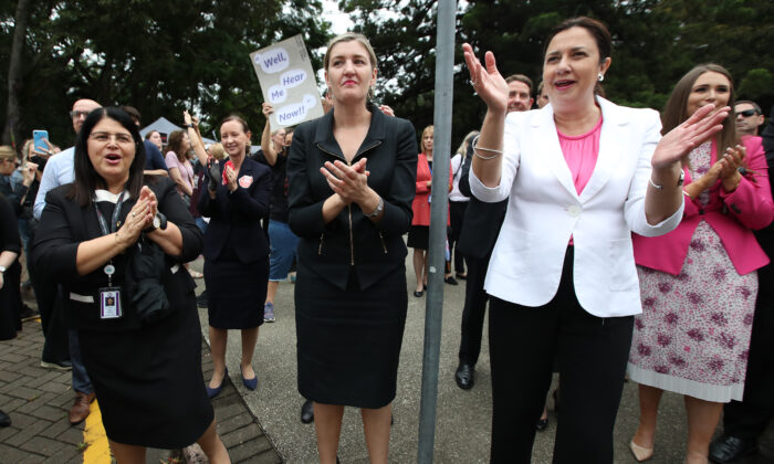 """Queensland minister Shannon Fentiman  and Premier Annastacia Palaszczuk at a """"March 4 Justice"""" rally in Brisbane, Australia on March 15, 2021. (Jono Searle/Getty Images)"""