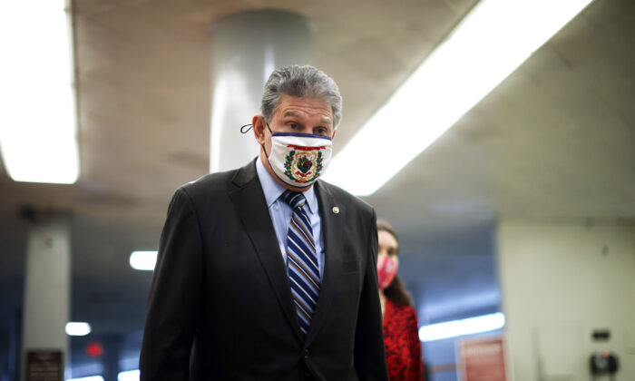 Sen. Joe Manchin (D-W.Va.) arrives at the U.S. Capitol in Washington on Feb. 11, 2021. (Chip Somodevilla/Getty Images)