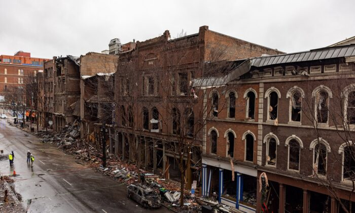 A row of historic Riverside buildings along Second Avenue stand in ruins in Nashville, Tenn., on Dec. 31, 2020. (Alex Kent/Getty Images)