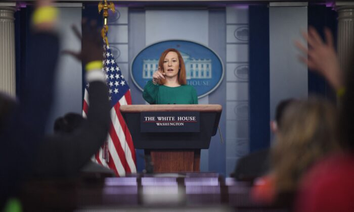 White House press secretary Jen Psaki answers questions as she speaks during a daily press briefing in the Brady Briefing Room of the White House in Washington on March 15, 2021. (Eric Baradat/AFP via Getty Images)