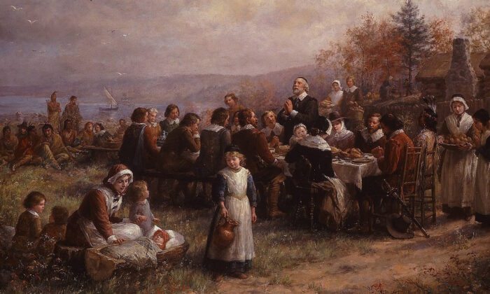 """Thanksgiving at Plymouth"" by Jennie Augusta Brownscombe, (1925). (Public domain)"