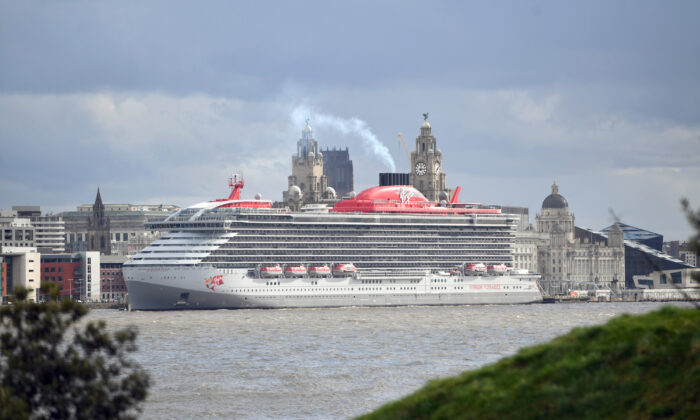 "A general view at the launch event for Virgin Voyages' new cruise ship ""Scarlet Lady"" in Liverpool, England, on Feb. 25, 2020. (Anthony Devlin/Getty Images for Virgin Voyages)"
