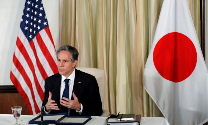 Secretary of State Antony Blinken attends a virtual business roundtable at the U.S. Ambassador's residence in Tokyo, Japan, on March 16, 2021. (Kim Kyung-Hoon/Pool/Reuters)