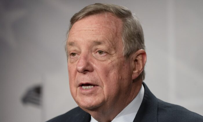 Sen. Dick Durbin (D-Ill.) speaks to the media on Capitol Hill in Washington on March 2, 2021. (Jacquelyn Martin/AP Photo)