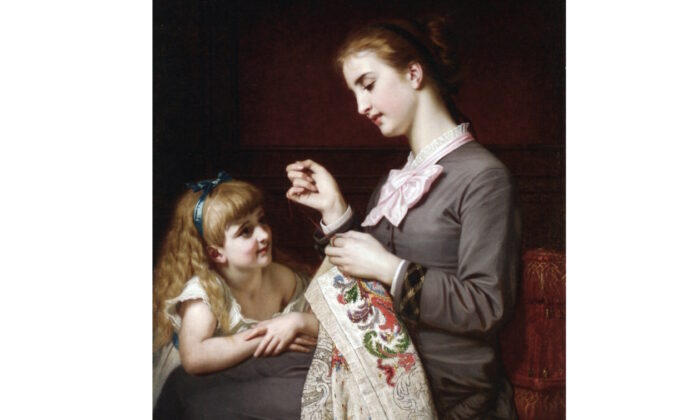 "Detail, ""The Embroidery Lesson"" by Hugues Merle. (Public domain)"