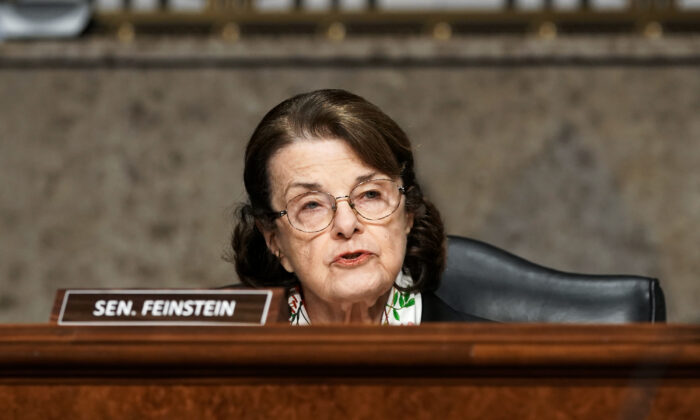 Sen. Dianne Feinstein (D-Calif.) speaks during a hearing on Capitol Hill in Washington on March 3, 2021. (Greg Nash/Pool/Getty Images)