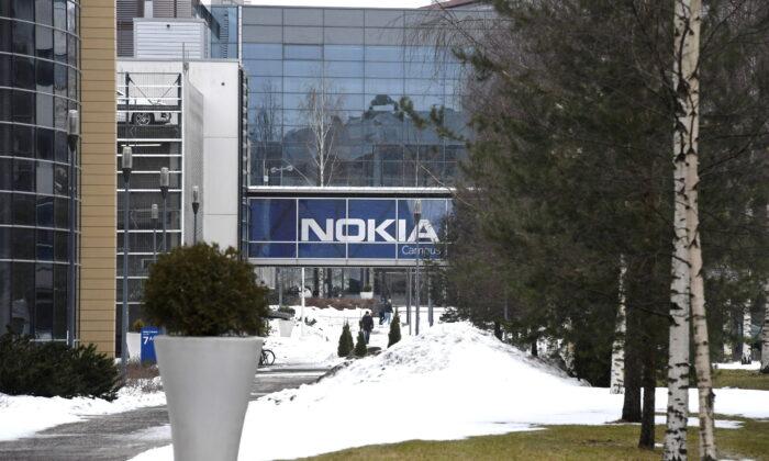 A view of the headquarters of the Finnish telecoms company Nokia in Espoo, Finland, on March 16, 2021.  (Lehtikuva/Heikki Saukkomaa via Reuters)