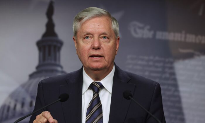 Sen. Lindsey Graham (R-S.C.) speaks to reporters on Capitol Hill in Washington on March 5, 2021. (Alex Wong/Getty Images)