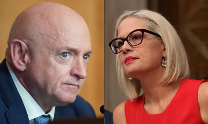 Sens. Mark Kelly (D-Ariz.) and Kyrsten Sinema (D-Ariz.) are seen in Washington in file photographs. (Getty Images)