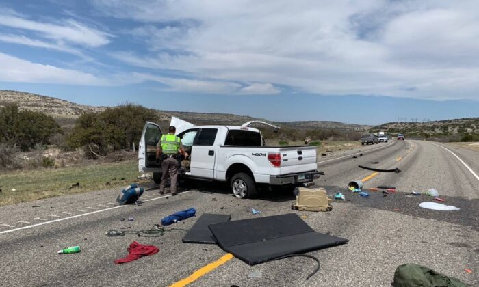The scene of a crash in Val Verde County, Texas, on March 15, 2021. (DPS)
