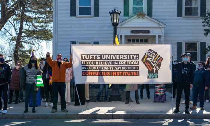 A human rights group urges Tufts University to close its Confucius Institute in Somerville, Massachusetts on March 13, 2021. (Learner Liu/The Epoch Times)
