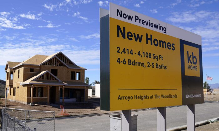 A sign sits in front of a KB Home construction site in Simi Valley, Calif., on Feb. 2, 2021. (Mark J. Terrill/AP Photo)