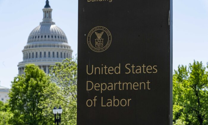 The entrance to the Labor Department is seen near the Capitol in Washington, D.C., on May 7, 2020. (J. Scott Applewhite/AP Photo)