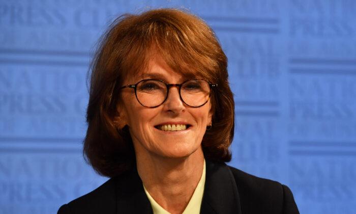 Australia Chief Scientist Cathy Foley appears at the National Press Club in Canberra, Australia, on March 17, 2021. (Sam Mooy/Getty Images)