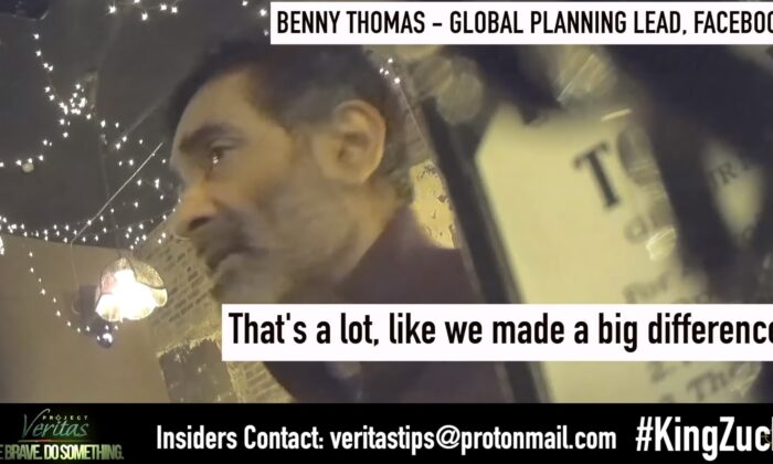 Benny Thomas, Global Planning lead - Creative & Experiential at Facebook, in a video released by Project Veritas on March 16, 2021. (Project Veritas/Youtube)