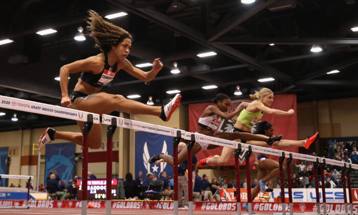 Women compete in the Women's 60 Meter Hurdles final during the 2020 Toyota USATF Indoor Championships at Albuquerque Convention Center in Albuquerque, New Mexico on Feb. 15, 2020. (Christian Petersen/Getty Images)