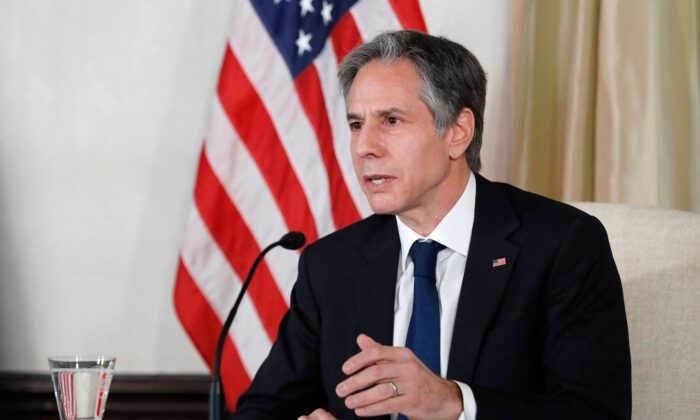 Secretary of State Antony Blinken attends a virtual women's entrepreneur roundtable at the U.S. ambassador's residence in Tokyo on March 16, 2021. (Kim Kyung-Hoon/POOL/AFP via Getty Images)