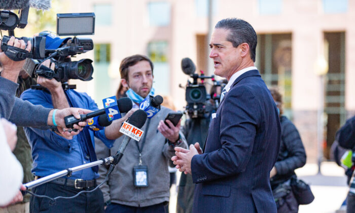 Orange County District Attorney Todd Spitzer speaks to reporters on March 16, 2021. (John Fredricks/The Epoch Times)