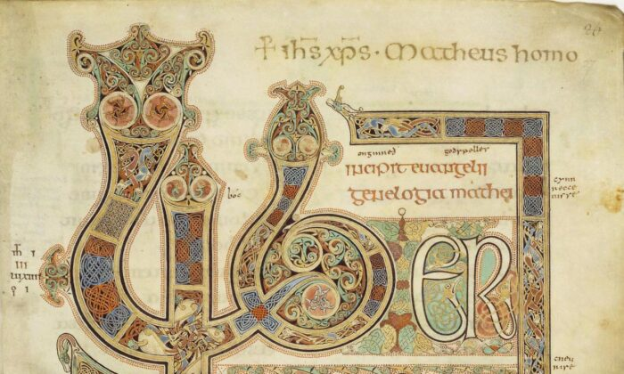 A page from the illuminated manuscript of the Lindisfarne Gospels. (Public domain)