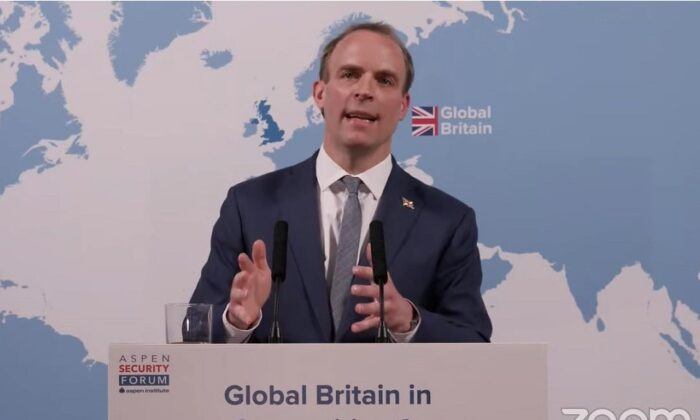 Britain's Foreign Secretary Dominic Raab speaks at the Aspen Security Conference on March 17, 2021. (Foreign, Commonwealth & Development Office)