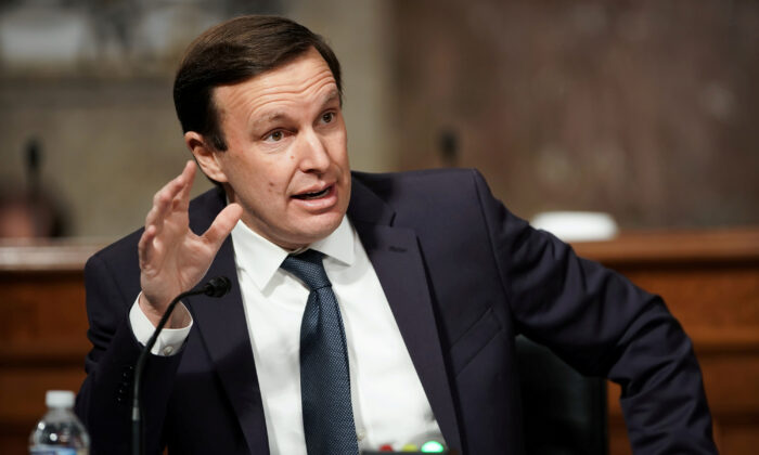 Sen. Chris Murphy (D-Conn.) speaks during a Senate Foreign Relations Committee hearing on Capitol Hill in Washington, on Jan. 27, 2021. (Greg Nash/Pool via Reuters)