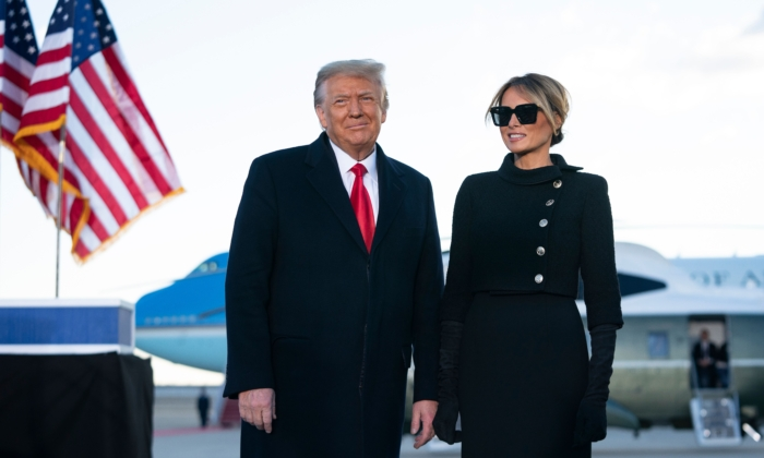 President Donald Trump and First Lady Melania Trump address guests at Joint Base Andrews in Maryland on Jan. 20, 2021. (Alex Edelman/AFP via Getty Images)