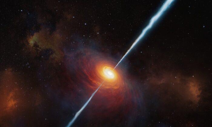 An illustration of the quasar P172+18. (ESO/M. Kornmesser)