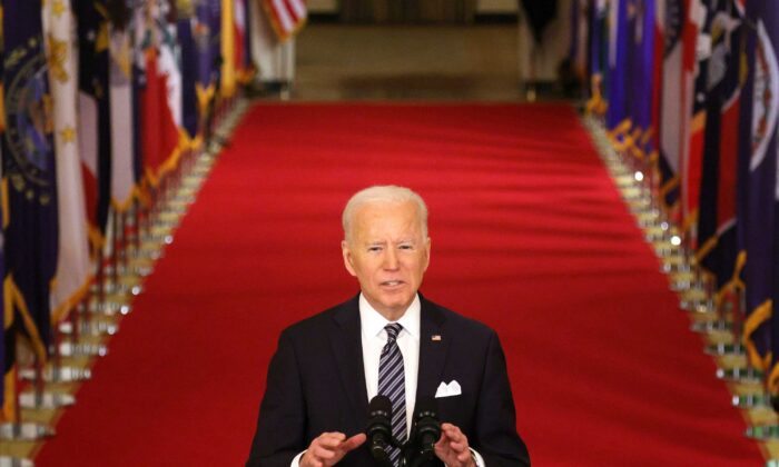 President Joe Biden delivers an address to the nation from the East Room of the White House in Washington on March 11, 2021. (Alex Wong/Getty Images/TNS)