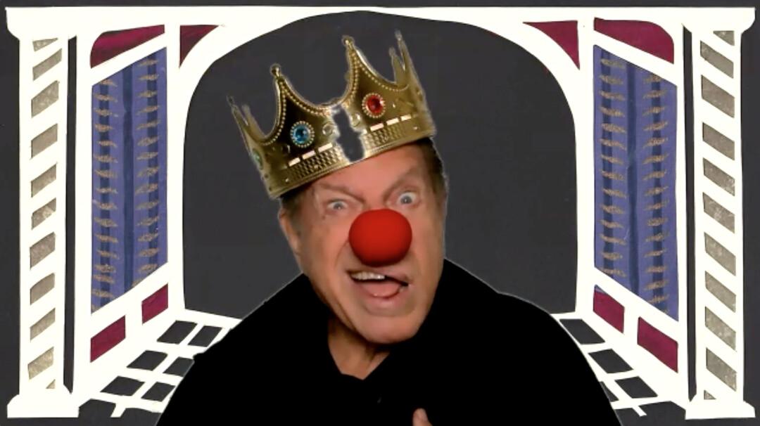 "Mike Burstyn as King Ahasuerus in the ""Megillah Cycle."" (Uri Schreter)"