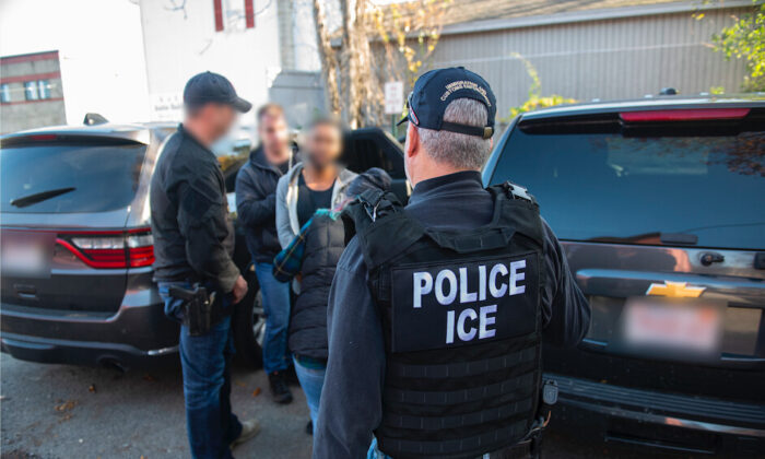 ICE officers apprehend fugitive criminal illegal immigrants for alleged involvement in the illegal narcotics trade, in Boston, Mass., on Nov. 4, 2019. (Courtesy of ICE)
