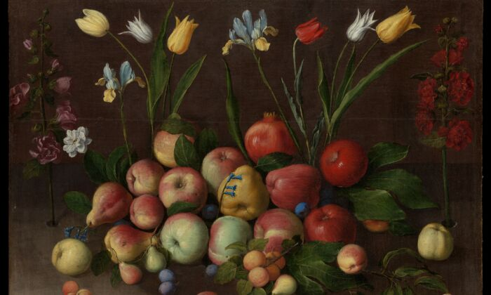 """A detail of """"Fruit and Flowers,"""" circa1630, byOrsola Maddalena Caccia.Oil on canvas;30 inches by 39 inches. Bequest of Errol M. Rudman, 2020. The Metropolitan Museum of Art. (Public Domain)"""