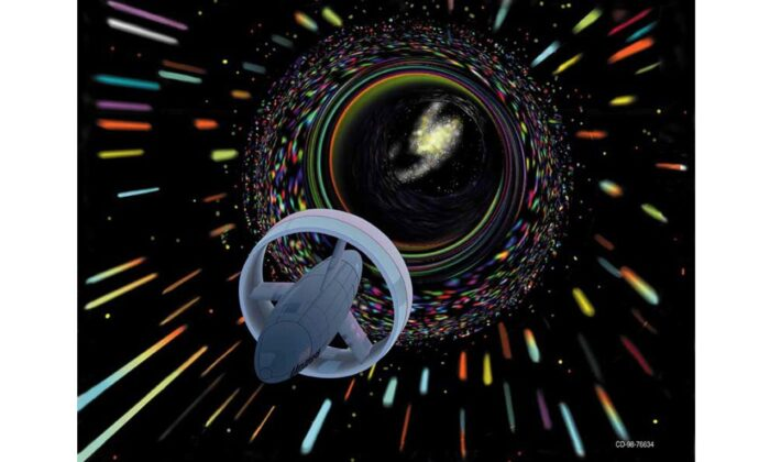 Wormhole travel as envisioned by Les Bossinas for NASA. (Les Bossinas (Cortez III Service Corp.), Public domain, via Wikimedia Commons)