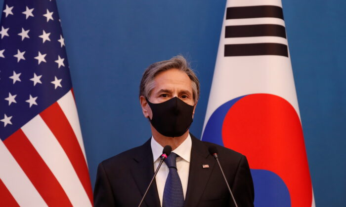 U.S. Secretary of State Antony Blinken speaks during a joint news conference after the Foreign and Defense Ministerial meeting between South Korea and the United States at the Foreign Ministry in Seoul on March 18, 2021. (Lee Jin-man/Pool via Reuters)