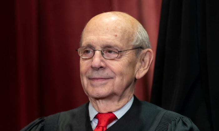 Associate Justice Stephen Breyer sits with fellow Supreme Court justices for a group portrait at the Supreme Court Building in Washington, on Nov. 30, 2018. (J. Scott Applewhite/File/AP Photo)