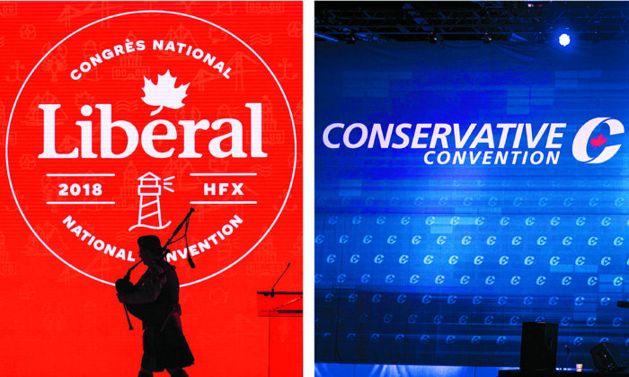 The Conservative Party will be holding this year's national convention from March 18 to 20, while the Liberals will hold their convention on April 9 and 10. The events will be held online. (The Canadian Press)