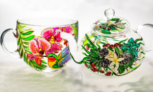 Ukrainian Artist's Vibrant Hand-Painted Glassware Turns Teatime Into Stunning Fine Art