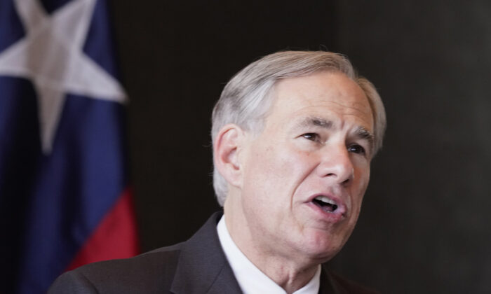 Texas Gov. Greg Abbott speaks during a news conference about unaccompanied minor detentions in Dallas, Texas, on March 17, 2021. (LM Otero/AP Photo)